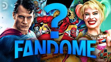 DC FanDome with large question mark next to Superman and Harley Quinn