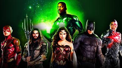 Wayne T. Carr as Green Lantern behind The Flash, Aquaman, Wonder Woman, Batman and Cyborg