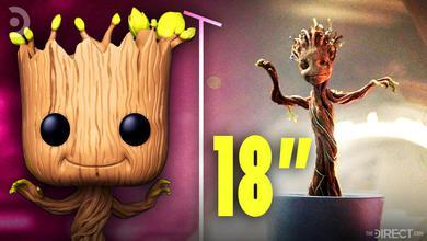 "Dancing Groot Funko Pop, 18"" in text, Dancing Baby Groot in Guardians of the Galaxy"
