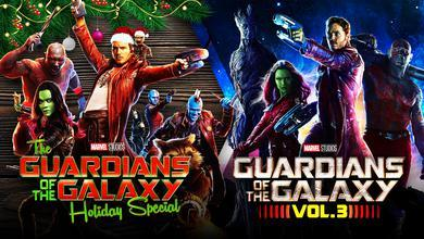 Guardians of the Galaxy Vol. 3 logo, Guardians of the Galaxy team, Guardians Holiday Special logo