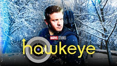 Jeremy Renner's Clint Barton/Hawkeye before a wintery backdrop