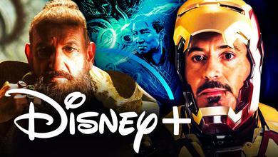 The Disney+ logo with the characters Trevor Slattery and Tony Stark from Iron Man 3