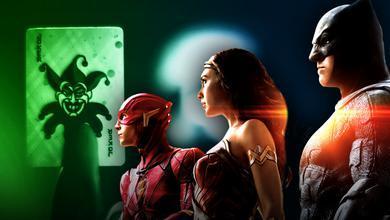 Joker Card, Flash, Wonder Woman, Batman