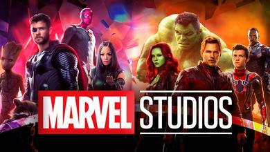 Marvel Studios logo in foreground with Thor, Gamora and more in background