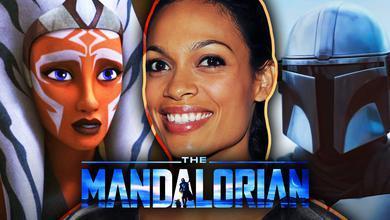 Ahsoka Tano, Rosario Dawson, Din Djarin, The Mandalorian Logo
