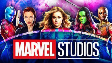 Nebula, Black Widow, Captain Marvel, Gamora, Okoye, Marvel Studios logo
