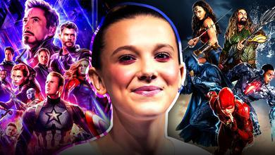 millie bobby brown Avengers Justice league posters