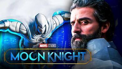 Moon Knight on a blue background, Oscar Issac
