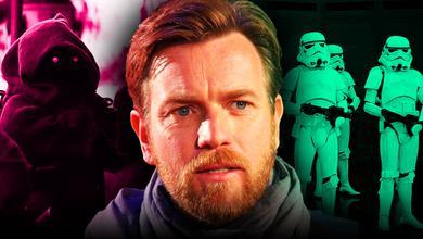 Ewan McGregor as Obi-Wan Kenobi alongside stormtroopers and Jawa in upcoming Obi-Wan Kenobi series
