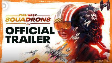 Star Wars Squadron Logo, Official Trailer text, Two pilots, Tie fighters, Starfighters