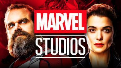 Rachel Weisz as Melina Vostokoff, David Harbour as Red Guardian, Marvel Studios logo