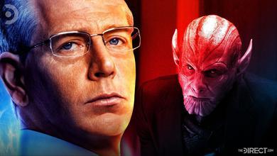 Ben Mendelsohn in human form on left and Skrull form on right