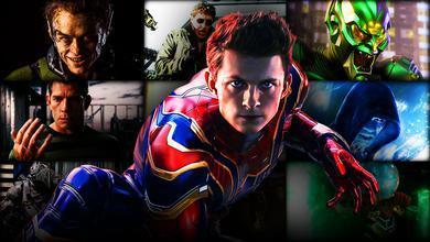 Tom Holland's Spider-Man in foreground with Spider-Man villains in background