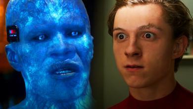 Tom Holland as Spider-Man, Jamie Foxx as Electro