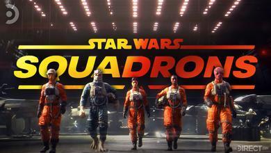 Star Wars Squadrons logo, alongside team characters