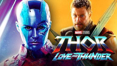 Nebula, Thor, Thor Love and Thunder logo