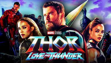 The Cast of Thor: Love and Thunder, including Thor, Jane Foster, Valkyrie, and the Guardians.