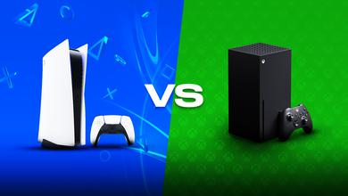 PS5 console, 'VS' text, Xbox Series X console