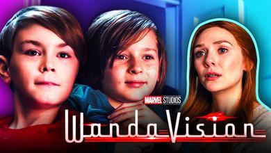 WandaVision logo, Elizabeth Olsen as Wanda Maximoff, Tommy, Billy