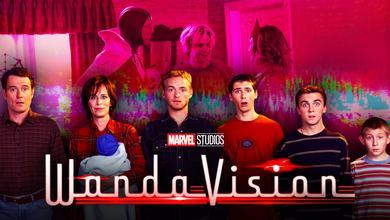Vision, Pietro Maximoff, Wanda Maximoff, Malcolm in the Middle cast, WandaVision logo.