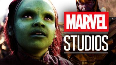 Young Gamora on left with Thanos on right